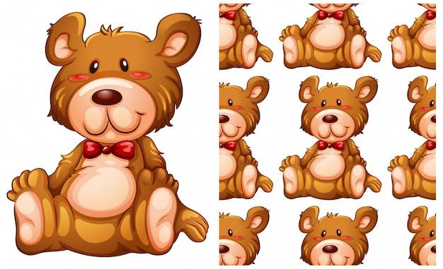 Modèle sans couture ours en peluche isolé sur blanc