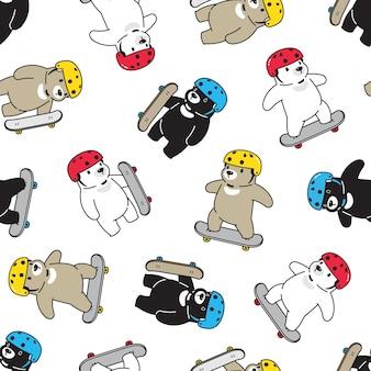 Modèle sans couture d'ours polaire avec planche à roulettes