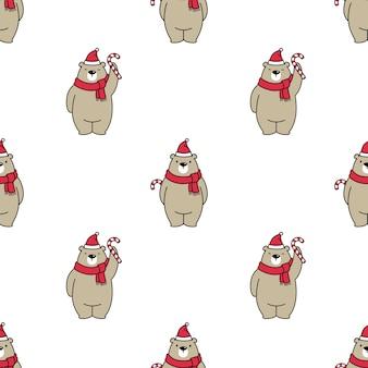 Modèle sans couture d'ours polaire avec thème de noël