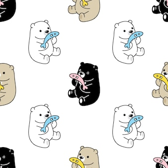 Modèle sans couture d'ours polaire