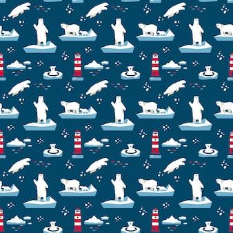 Modèle sans couture ours polaire
