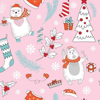 Modèle sans couture avec des ours polaires mignons et des éléments de noël isolés sur fond rose. illustration vectorielle.
