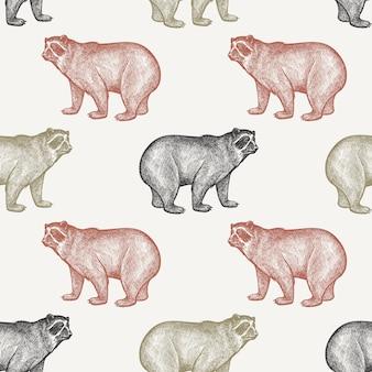 Modèle sans couture avec ours.