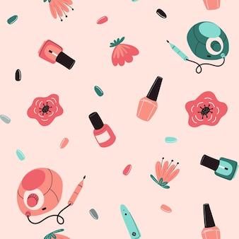Modèle sans couture d'outils de manucure concept d'art d'ongle avec le coupe-ongles de fleurs de foret polonais