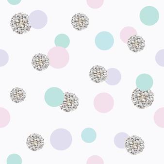 Modèle sans couture de paillettes confettis à pois.