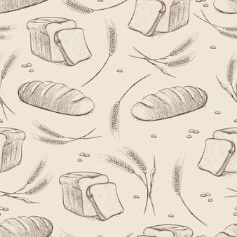 Modèle sans couture pain et blé dessinés à la main