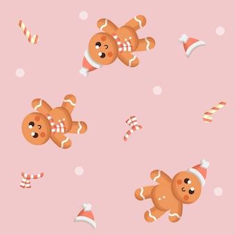 Modèle sans couture de pain de gingembre mignon avec hiver et décoration