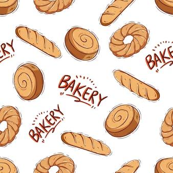 Modèle sans couture de pain mignon doodle sur fond blanc