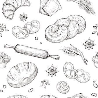 Modèle sans couture de pain. répétant vecteur boulangerie croquis vintage