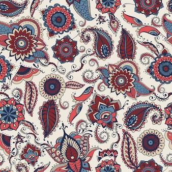 Modèle sans couture paisley avec motifs ethniques indiens ou turcs hétéroclites sur blanc