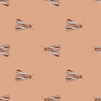 Modèle sans couture pâle simple avec ornement d'insectes folkloriques. silhouettes de taupes dessinées à la main