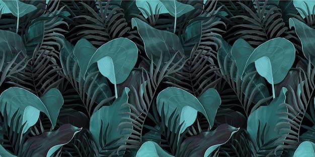 Modèle sans couture avec palmier feuilles tropicales, colocasia, banane