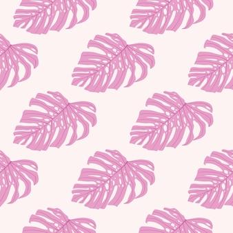 Modèle sans couture de palmier nature avec des feuilles de monstera rose.