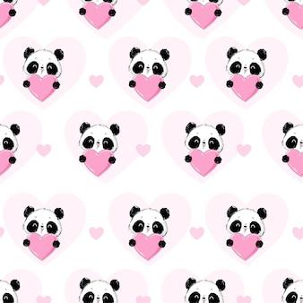 Modèle sans couture panda et carte de voeux illustration coeur pour la saint-valentin