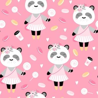 Modèle sans couture avec panda mignon avec café et gâteaux.