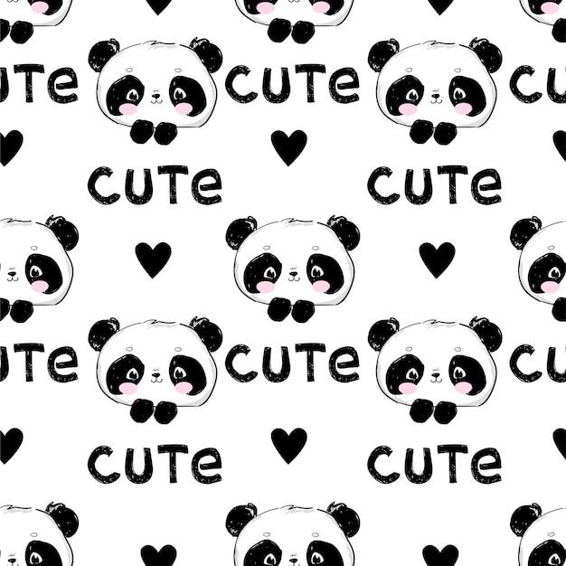 Modèle sans couture de panda mignon dessiné main et coeur