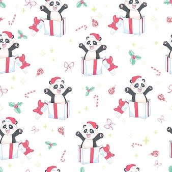 Modèle sans couture avec panda mignon