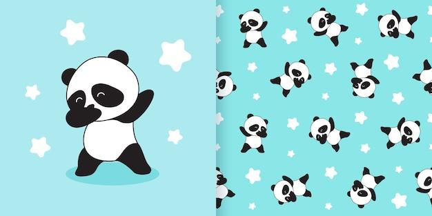Modèle sans couture panda mignon