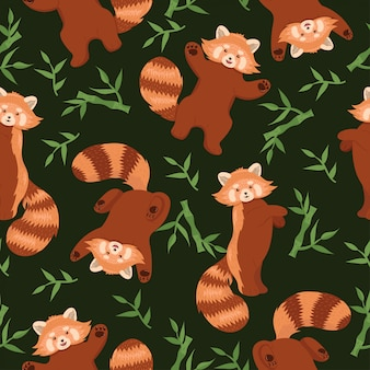 Modèle sans couture avec des pandas rouges. graphique.