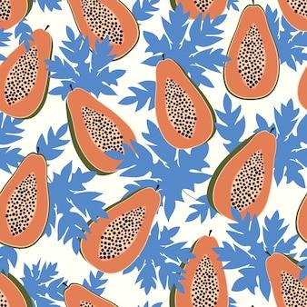 Modèle sans couture de papaye avec des feuilles