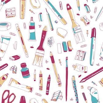 Modèle sans couture avec papeterie, art et outils de bureau, fournitures scolaires