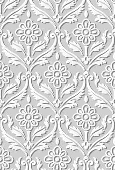 Modèle sans couture papier 3d art vintage courbe spirale croix feuille fleur vigne