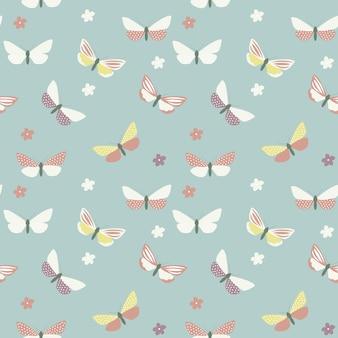Modèle sans couture de papillon dessiné main abstraite. illustration