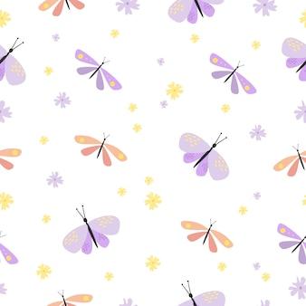 Modèle sans couture de papillon mignon