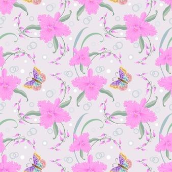 Modèle sans couture papillon et orchidées roses.
