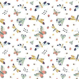 Modèle sans couture avec papillon, papillon, fleurs et libellule dans le blanc.