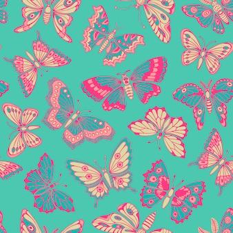 Modèle sans couture avec papillons décoratifs.