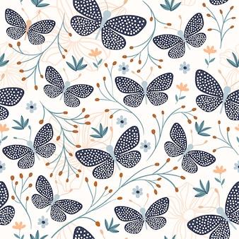 Modèle sans couture avec papillons, design décoratif
