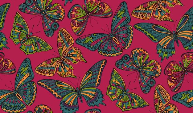 Modèle sans couture avec des papillons dessinés à la main doodle orné.