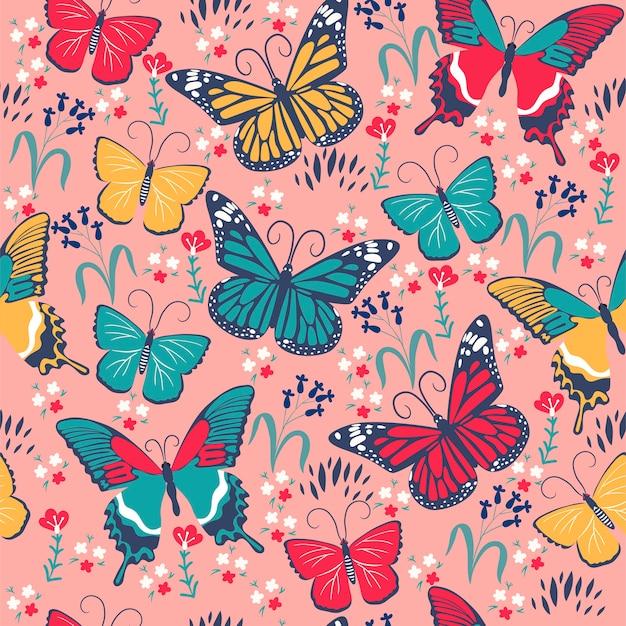 Modèle sans couture avec papillons et fleurs