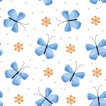 Modèle sans couture avec des papillons et des fleurs