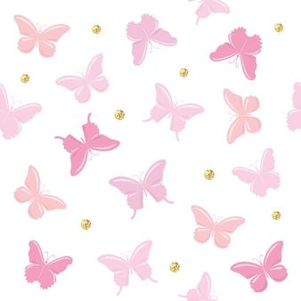 Modèle sans couture de papillons. girly.