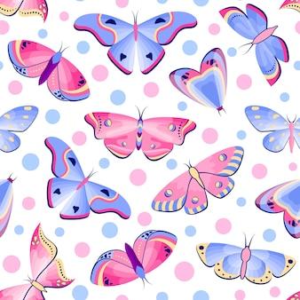 Modèle sans couture avec papillons et mites sur fond blanc.