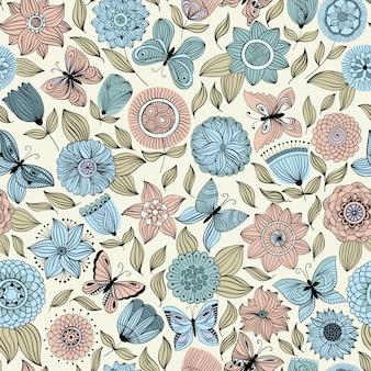 Modèle sans couture avec des papillons survolant les fleurs