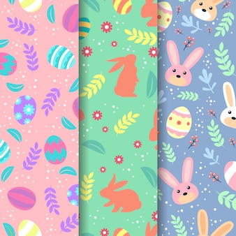 Modèle sans couture de pâques design plat avec des silhouettes de lapins
