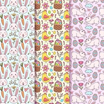 Modèle sans couture de pâques dessiné à la main avec des lapins