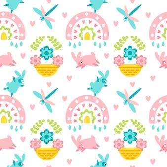 Modèle sans couture de pâques avec fleur de panier coeur lapin libellule arc-en-ciel
