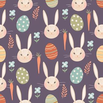 Modèle sans couture de pâques avec lapin, oeufs et carottes, conception de printemps saisonnier