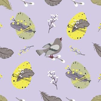 Modèle sans couture de pâques: oeufs, plumes, oiseau chanteur, saule.