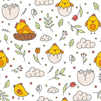 Modèle sans couture de pâques avec des poulets et des fleurs dans un style doodle
