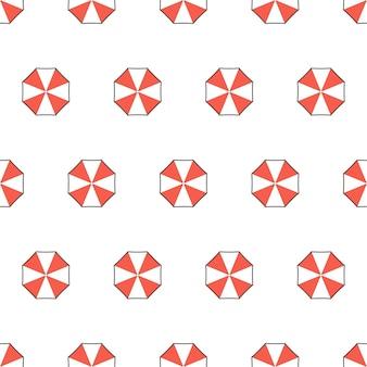 Modèle sans couture de parasols de plage sur un fond blanc. illustration vectorielle de thème d'été