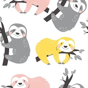 Modèle sans couture avec des paresseux mignons sur fond blanc illustration vectorielle pour l'impression