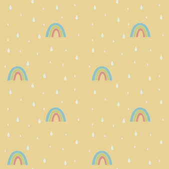Modèle sans couture pastel avec des arcs-en-ciel et des gouttes de pluie design scandinave graphique mignon enfantin