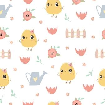 Modèle sans couture pastel avec des poulets