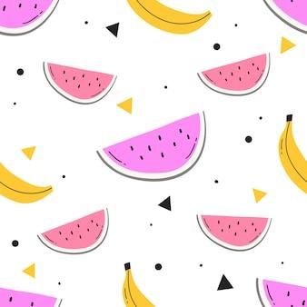 Modèle sans couture avec pastèque stylisée dessinée à la main et bananes