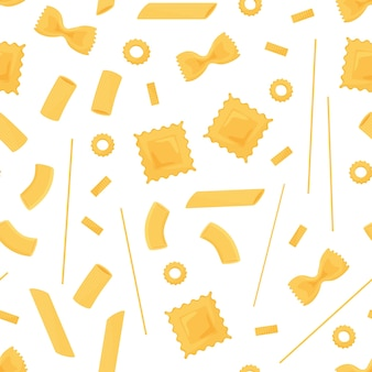 Modèle sans couture de pâtes. différents types de pâtes italiennes. spaghetti, raviolis, penne, farfalle, macaron aux nouilles